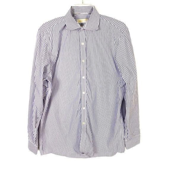 Michael Kors Blue White Striped Dress Shirt 16